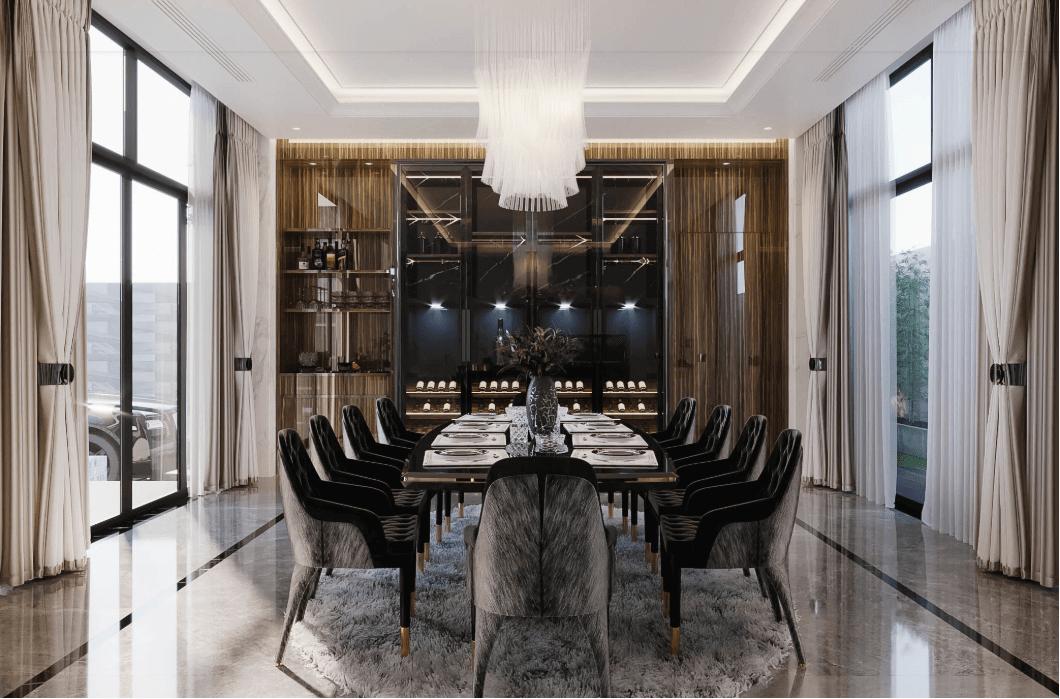 biệt thự kiểu hiện đại đẹp 3 tầng phòng ăn