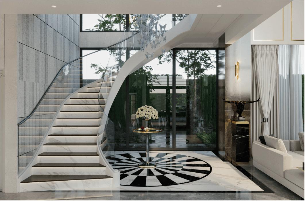 biệt thự kiểu hiện đại đẹp 3 tầng cầu thang