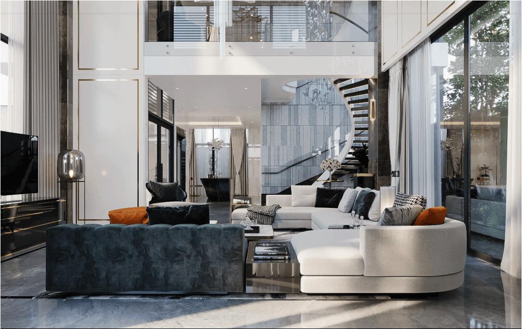 biệt thự kiểu hiện đại đẹp 3 tầng phòng khách