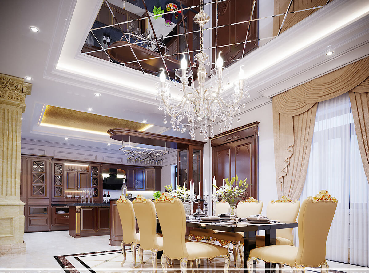 biệt thự kiểu Pháp 10x25m phòng ăn
