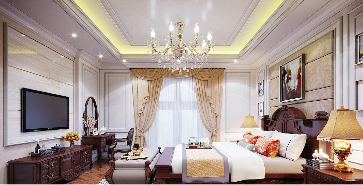 biệt thự kiểu Pháp 10x25m phòng ngủ master