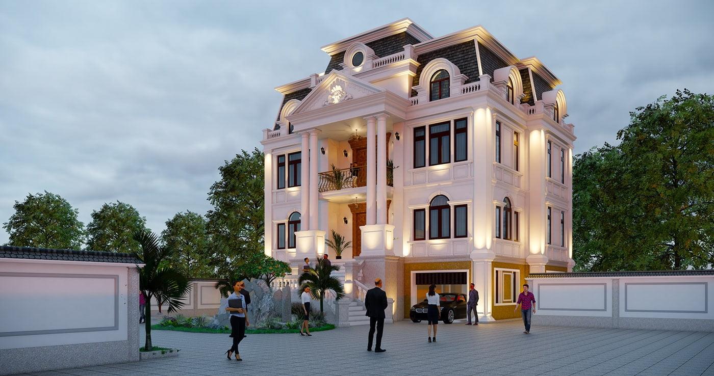 biệt thự kiểu Pháp 3 tầng 1 tum