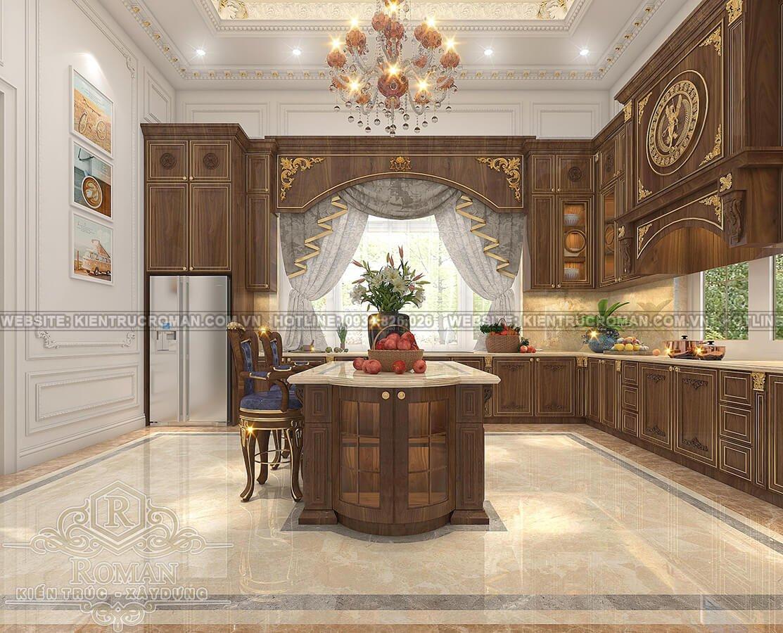 biệt thự mặt tiền 13m phòng bếp