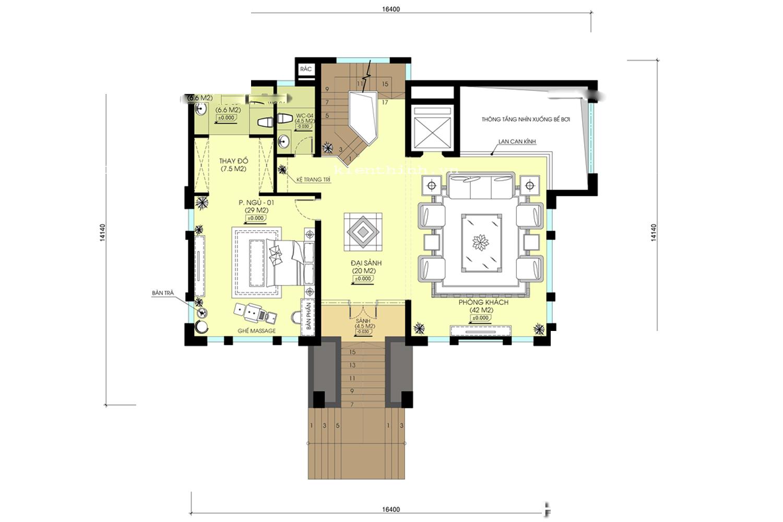 biệt thự 3 tầng mặt tiền 20m 7