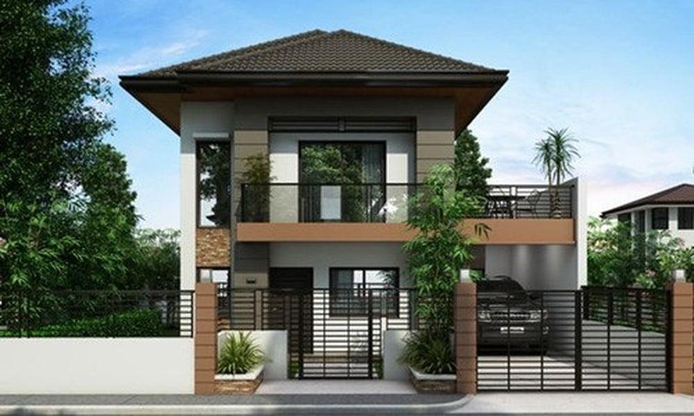 mẫu thiết kế biệt thự mini 2 tầng đẹp 9