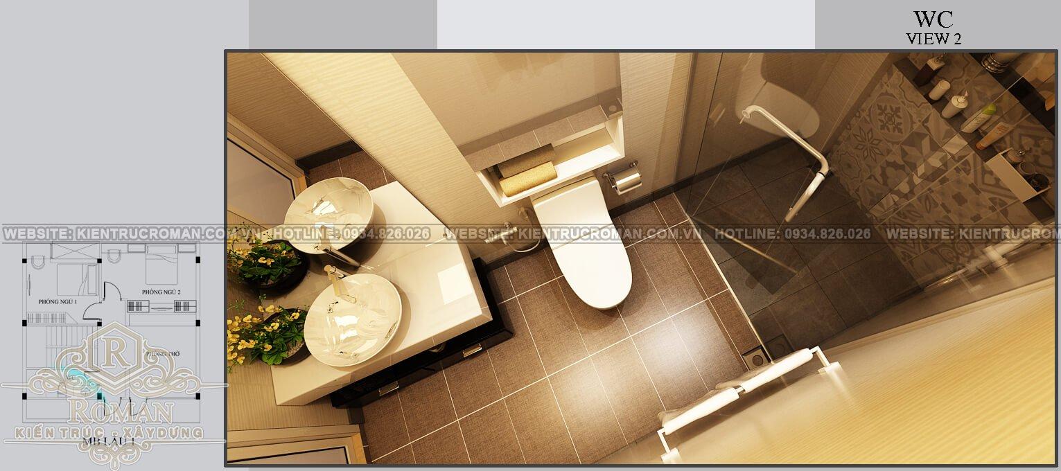 biệt thự mini 2 tầng đẹp phòng tắm