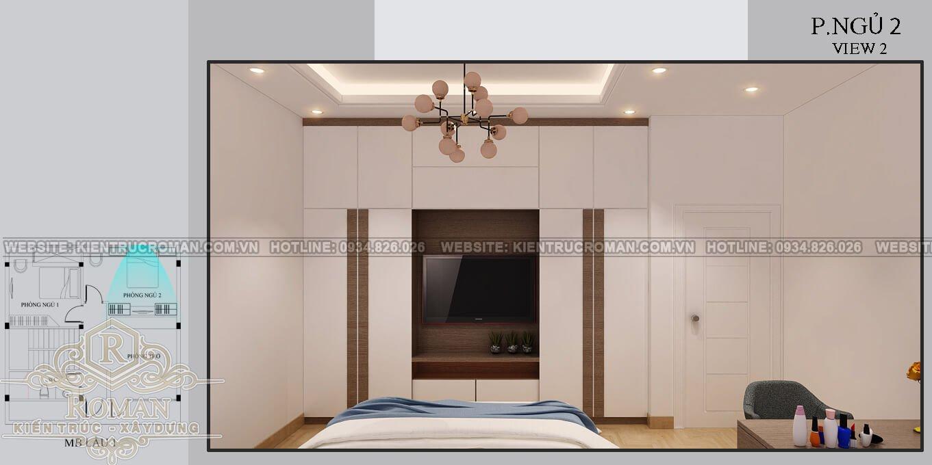 biệt thự mini 2 tầng đẹp phòng ngủ
