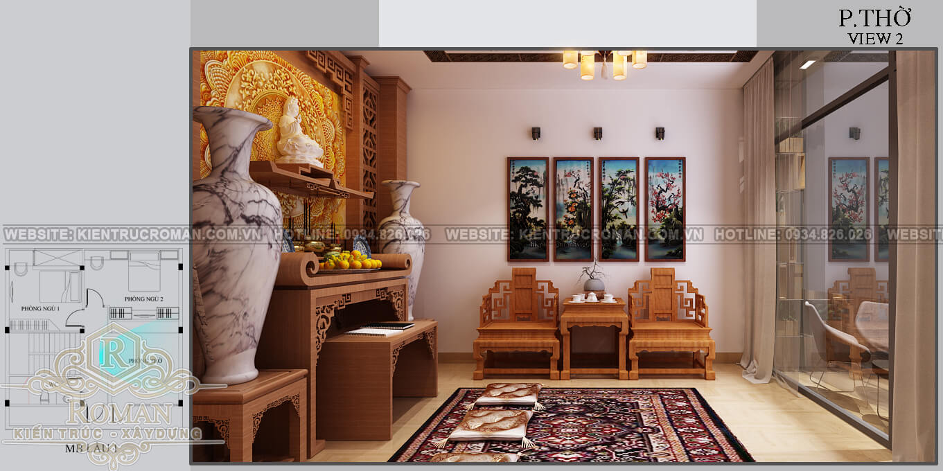 biệt thự mini 2 tầng đẹp phòng thờ