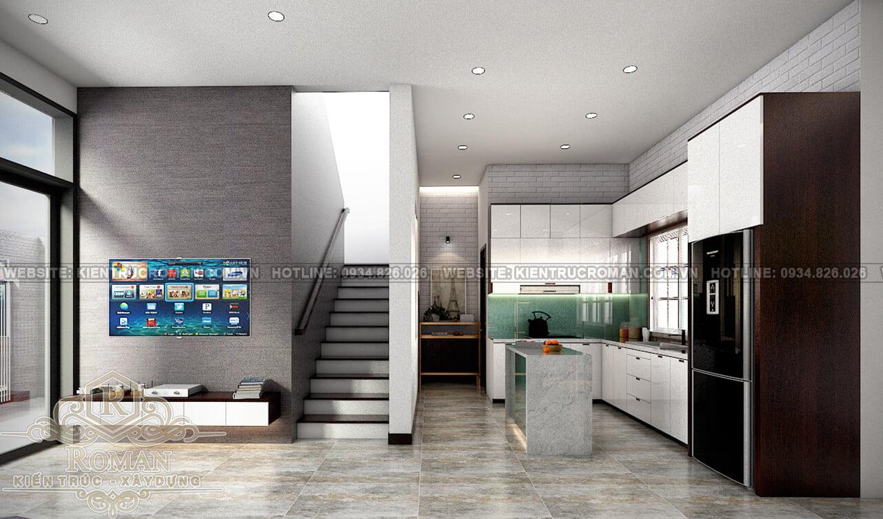biệt thự mini 2 tầng đẹp phòng bếp