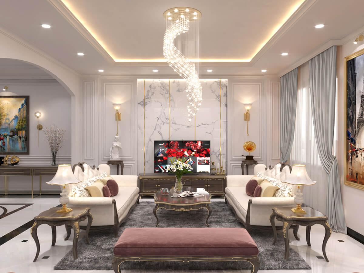 biệt thự một mặt tiền 7m phòng khách
