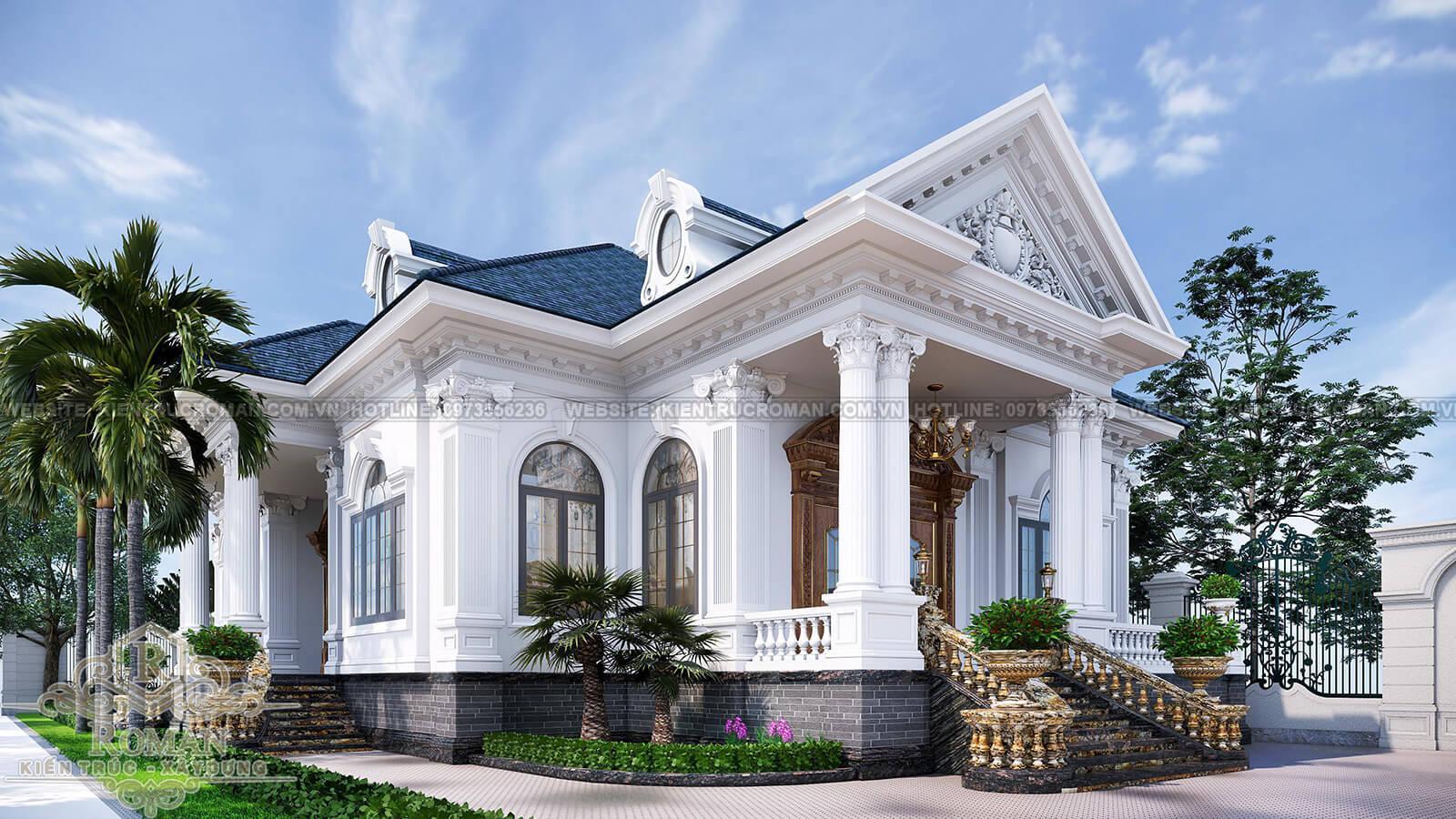 biệt thự nhà vườn 1 tầng kiểu pháp