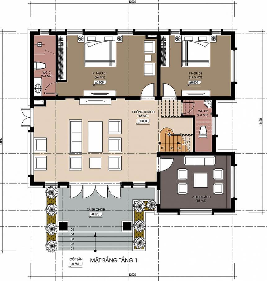 biệt thự nhà vườn 2 tầng 15x15m