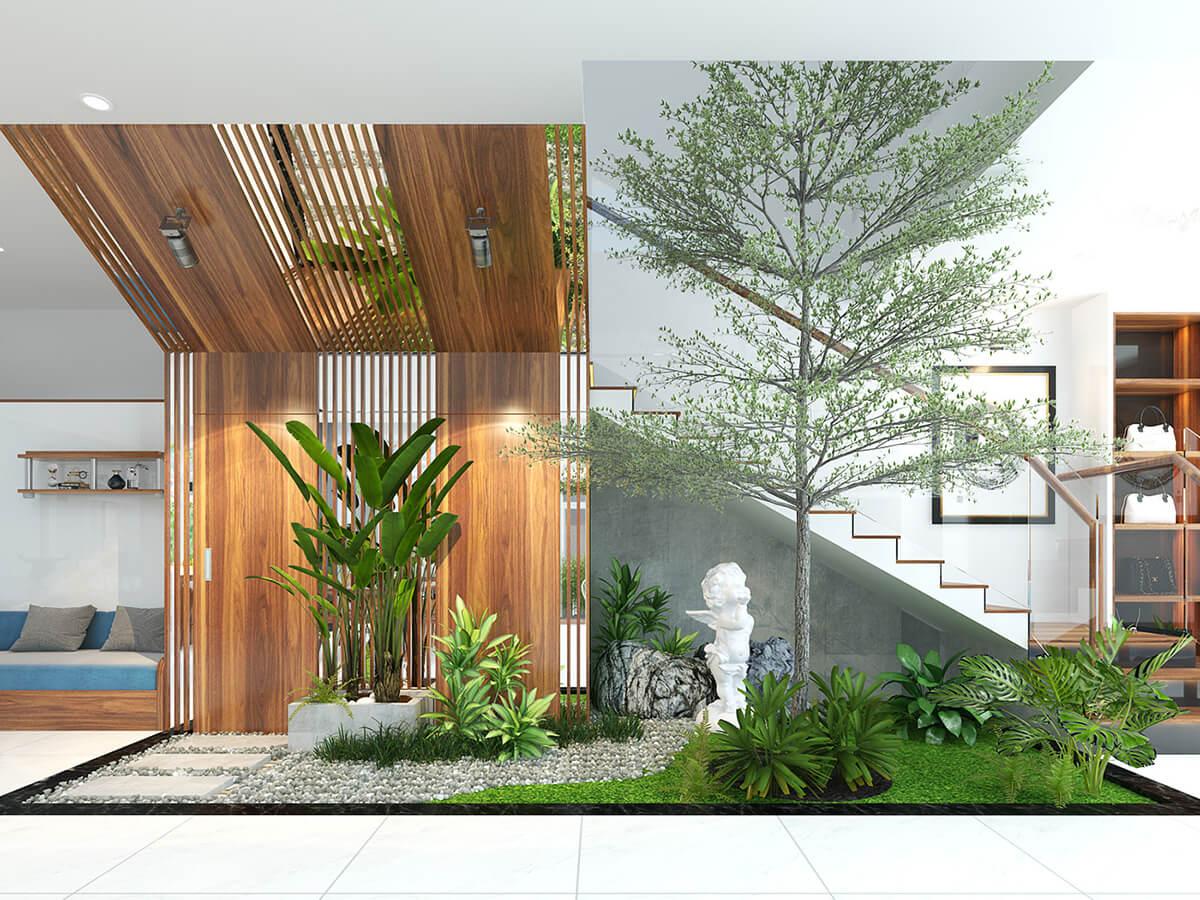biệt thự nhà vườn 2 tầng hiện đại cầu thang