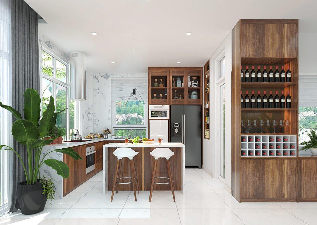 biệt thự nhà vườn 2 tầng hiện đại phòng bếp