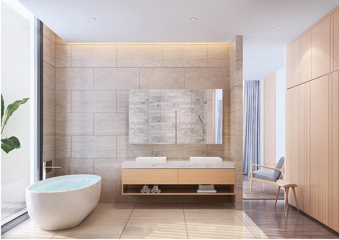 biệt thự nhà vườn 2 tầng hiện đại phòng tắm