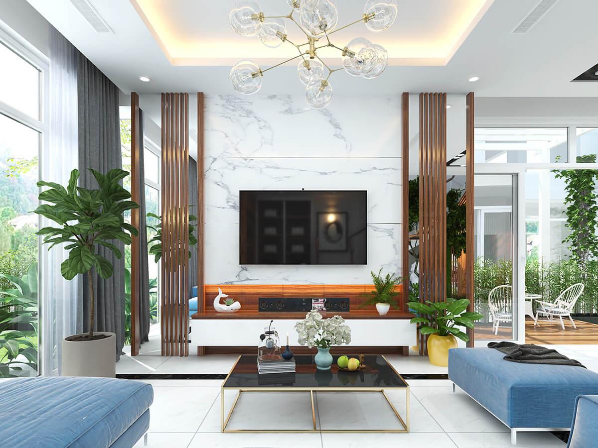 biệt thự nhà vườn 2 tầng hiện đại phòng khách