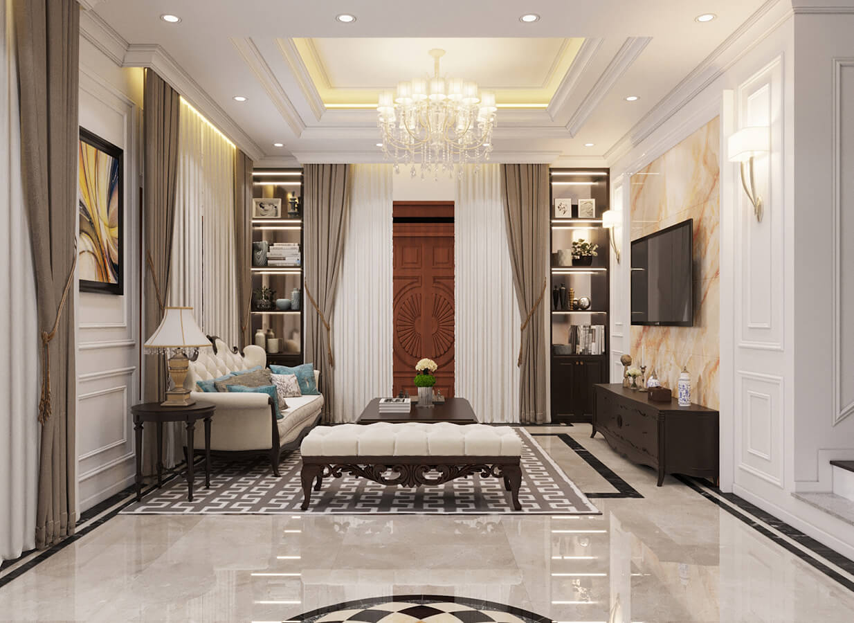 biệt thự pháp 3 tầng phòng khách