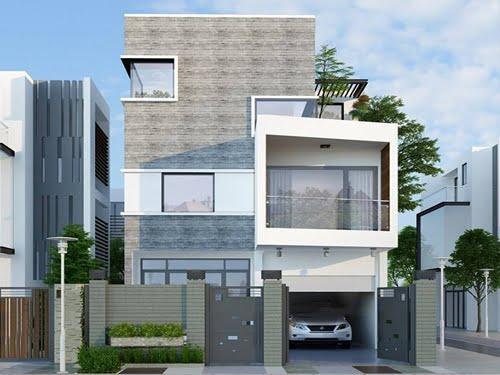 mẫu biệt thự phố 3 tầng 8x15m