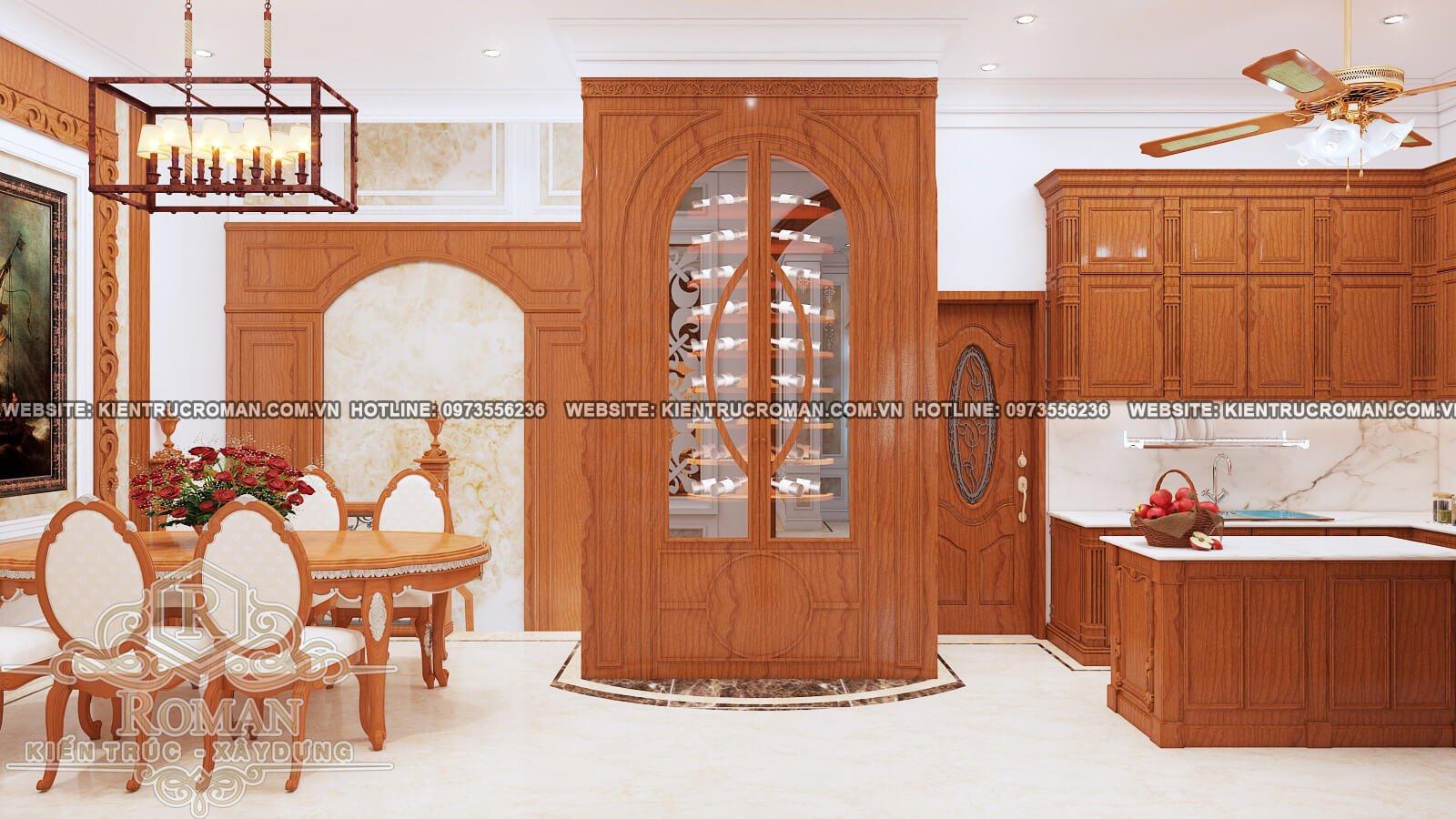 nhà bếp và phòng ăn thiết kế biệt thự phố đẹp kiểu cổ điển
