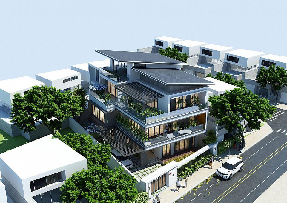 biệt thự phố hiện đại 8x16m mặt tiền