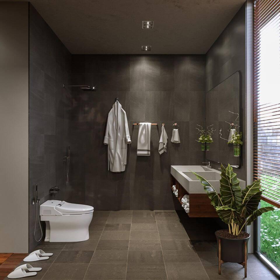 biệt thự phố hiện đại 8x16m phòng tắm