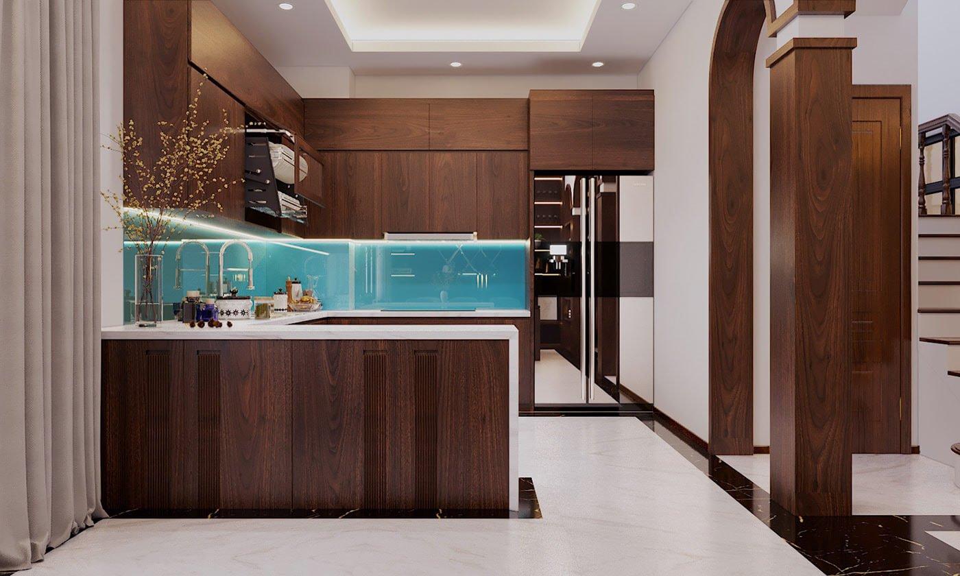 biệt thự phố hiện đại mặt tiền 10m phòng bếp