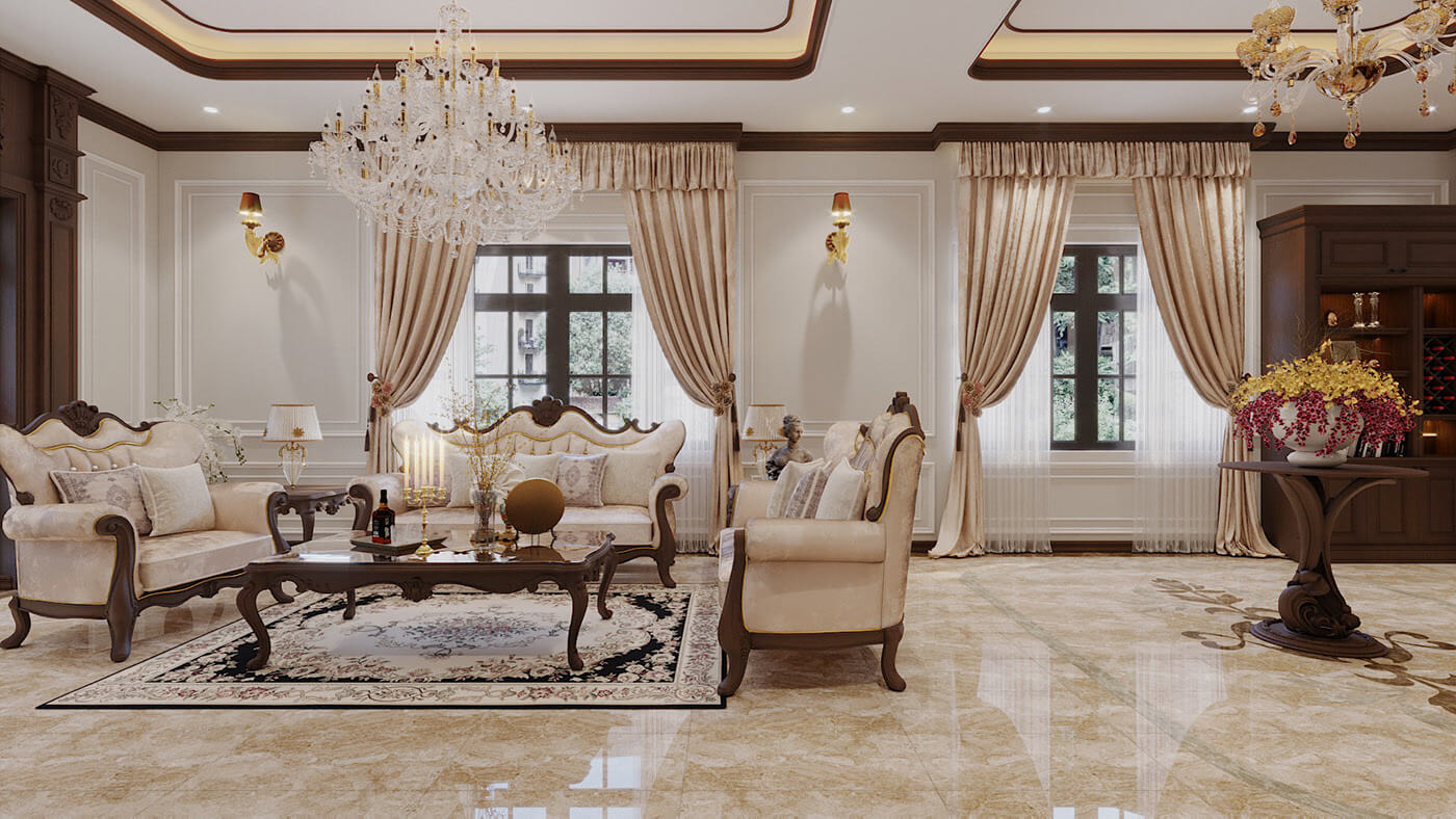 biệt thự tân cổ điển 11x12m phòng khách