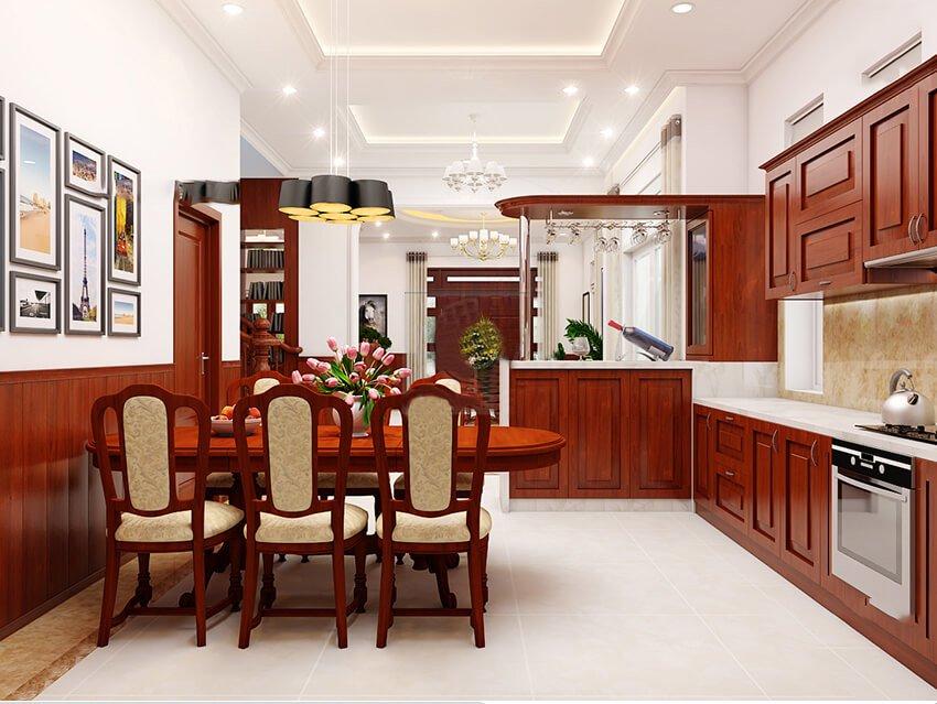 biệt thự tân cổ điển 15x20m nhà bếp