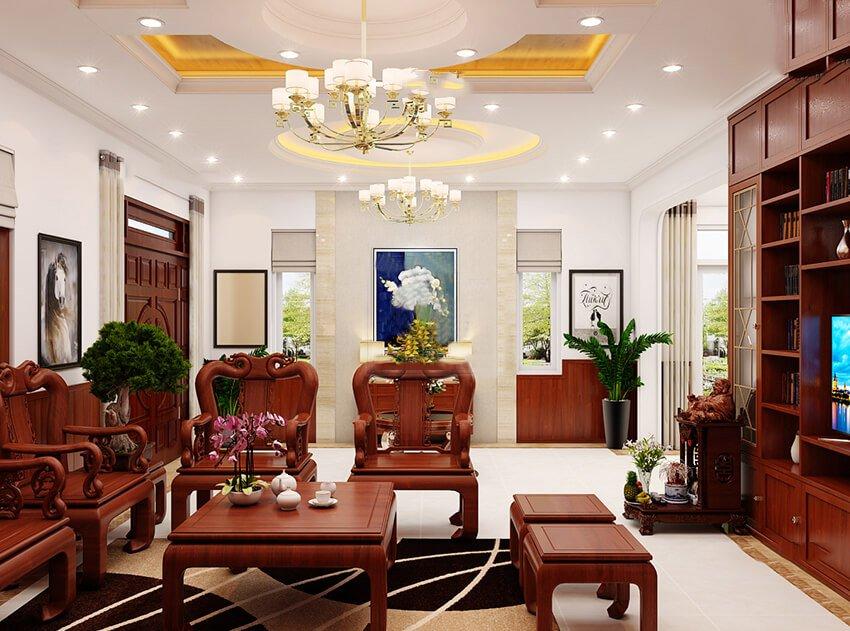 biệt thự tân cổ điển 15x20m phòng khách