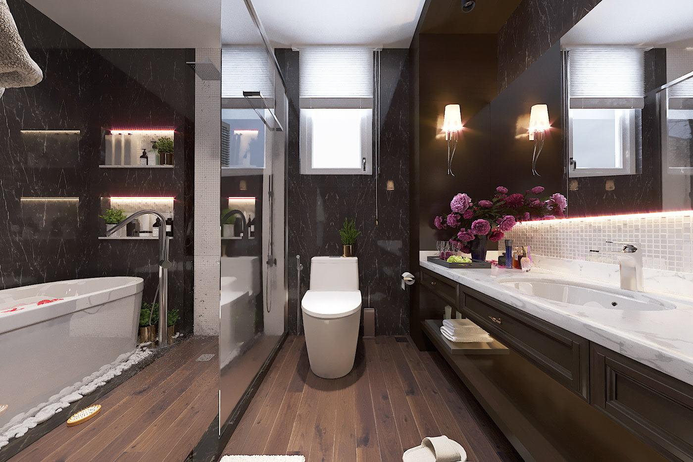 biệt thự tân cổ điển 17x17m phòng tắm