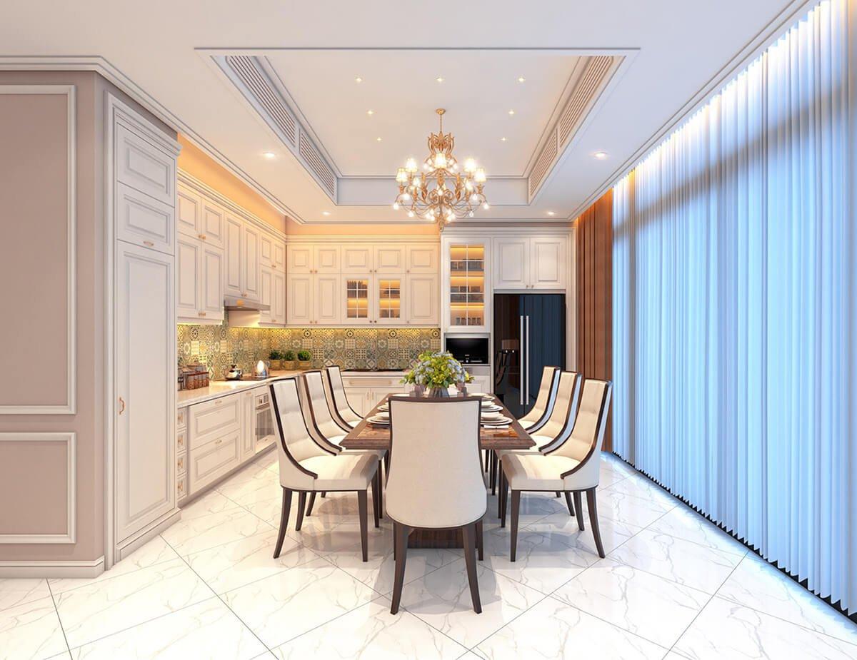 biệt thự tân cổ điển 18x25m phòng ăn