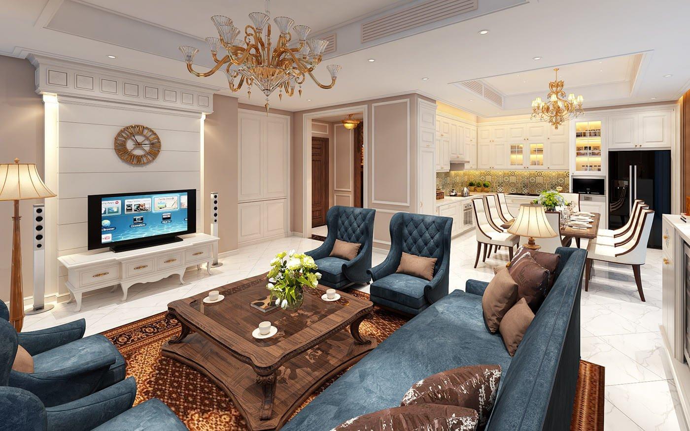 biệt thự tân cổ điển 18x25m phòng khách