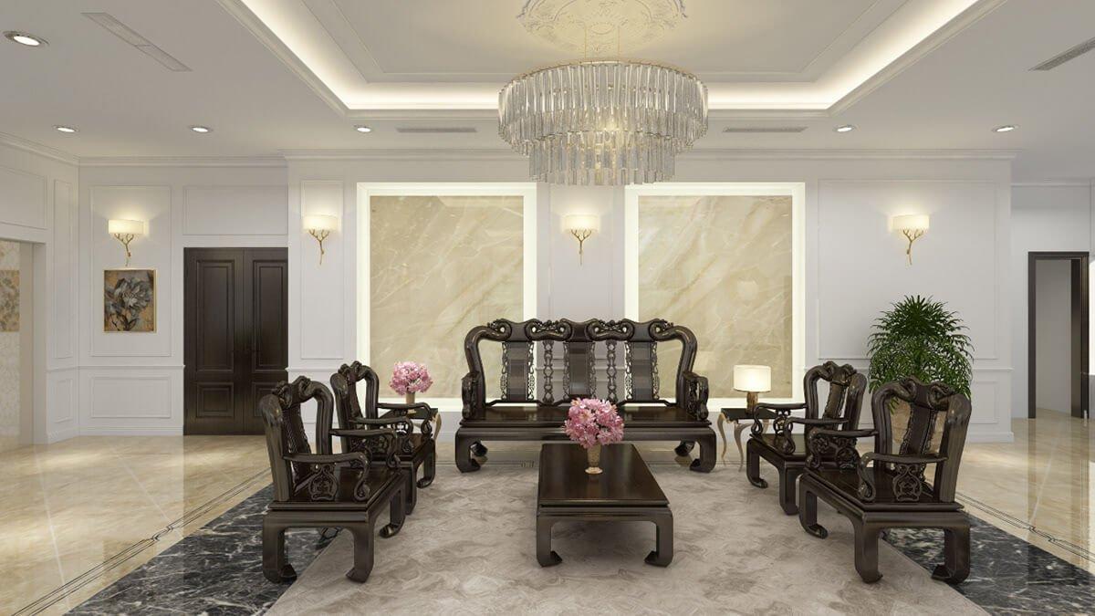biệt thự tân cổ điển 8x22m phòng khách