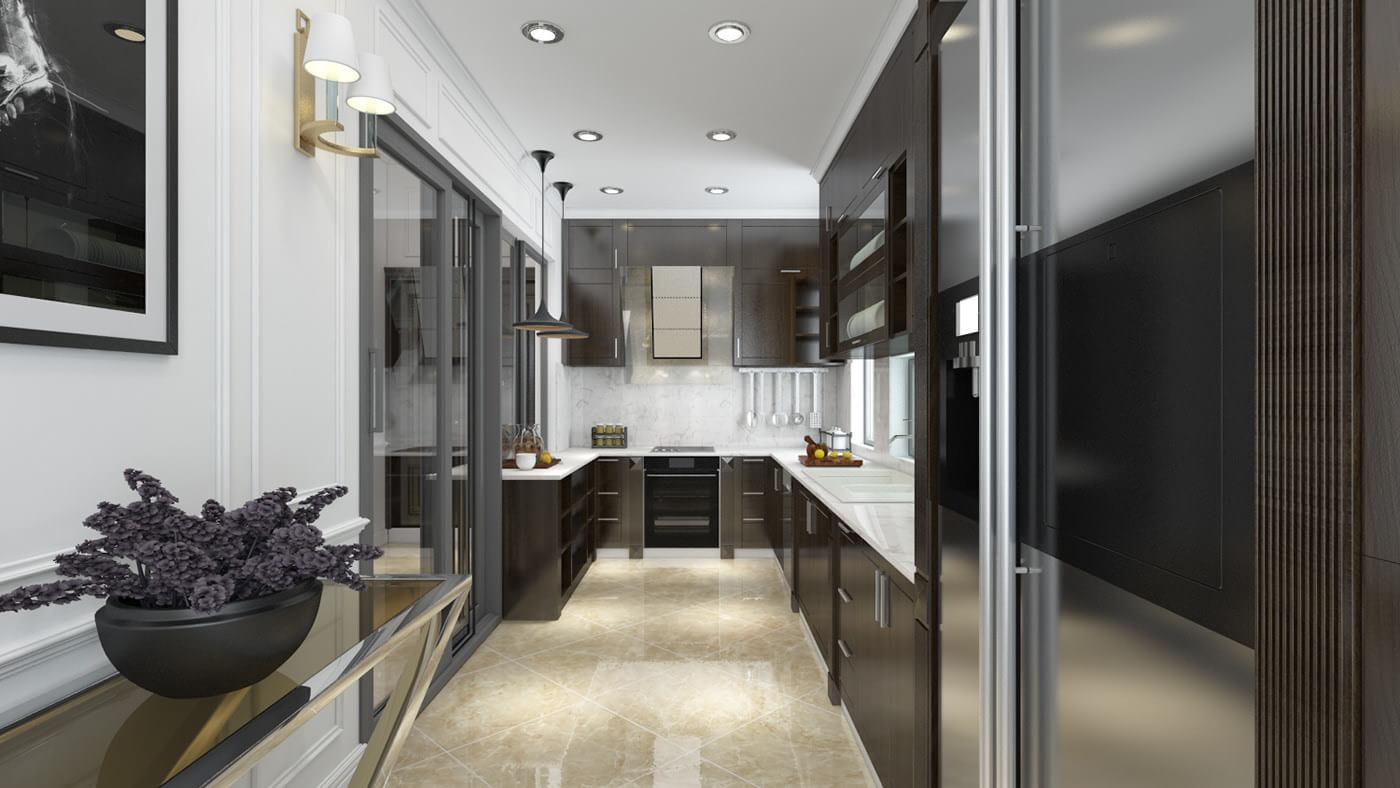 biệt thự tân cổ điển 8x22m phòng bếp