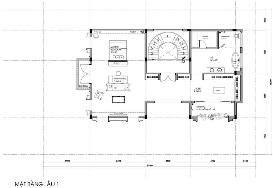 biệt thự tân cổ điển 9x15m