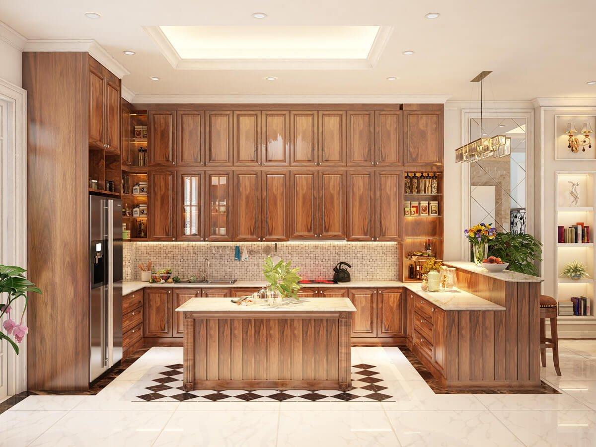 biệt thự tân cổ điển có gara phòng bếp