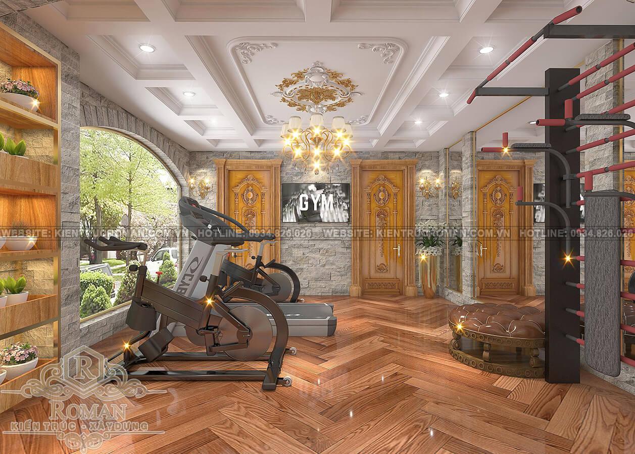 biệt thự tân cổ điển có tầng hầm phòng gym