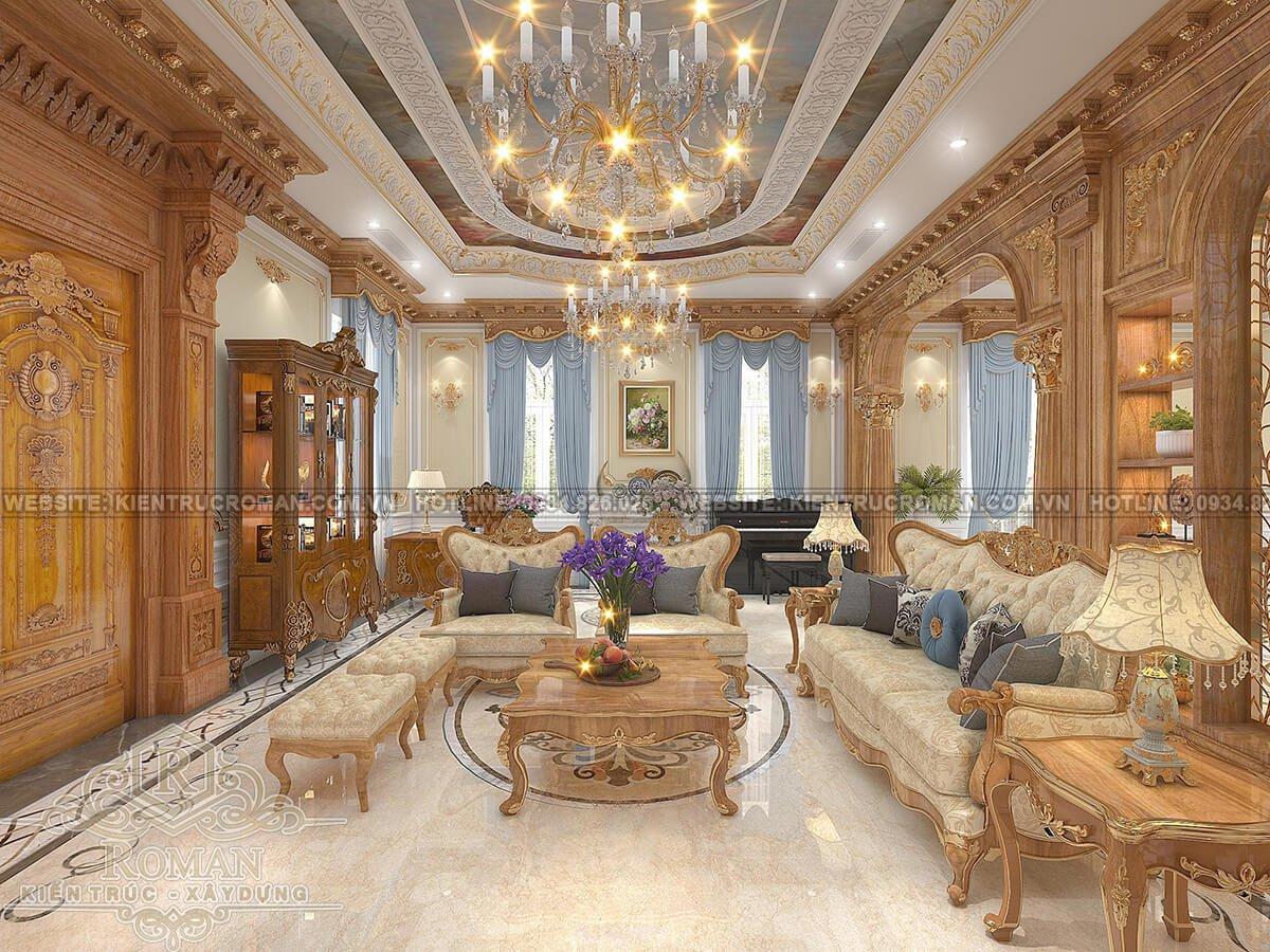 biệt thự tân cổ điển có tầng hầm phòng khách