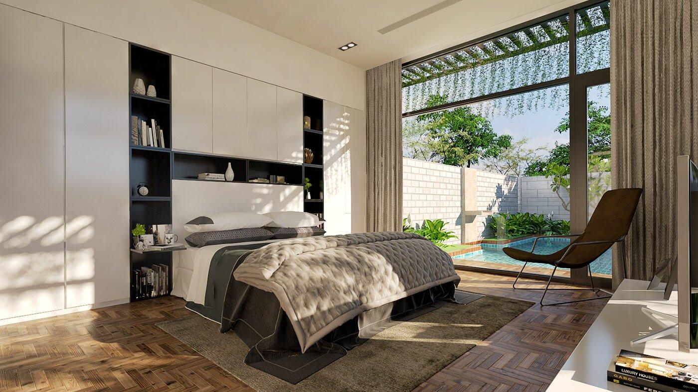 biệt thự tường kính hiện đại phòng ngủ