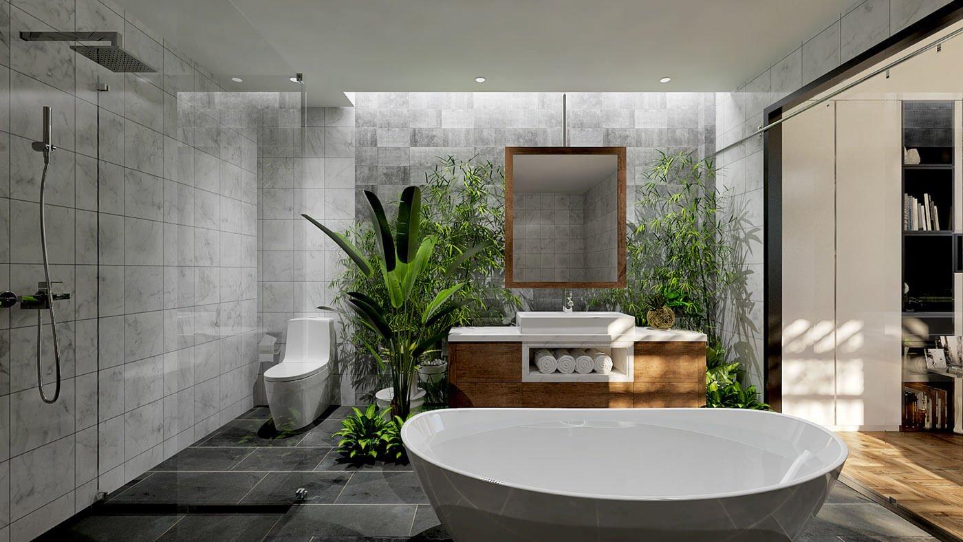 biệt thự tường kính hiện đại phòng tắm