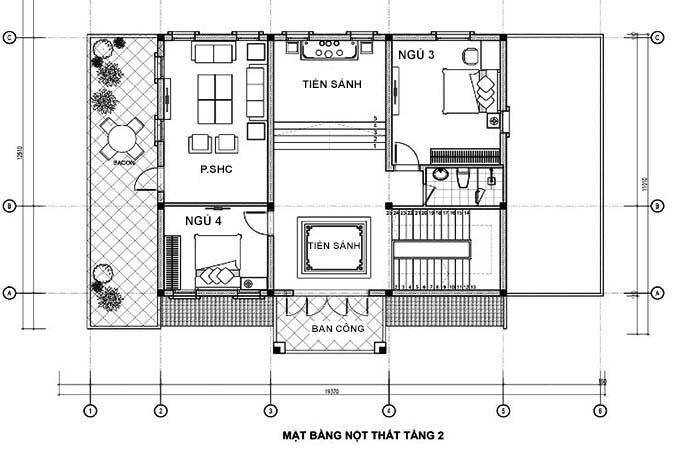 thiết kế biệt thự 2 tầng 4 phòng ngủ đẹp 5