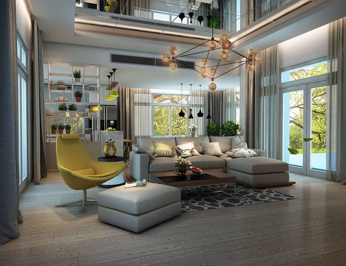 biệt thự vườn 2 tầng hiện đại phòng khách