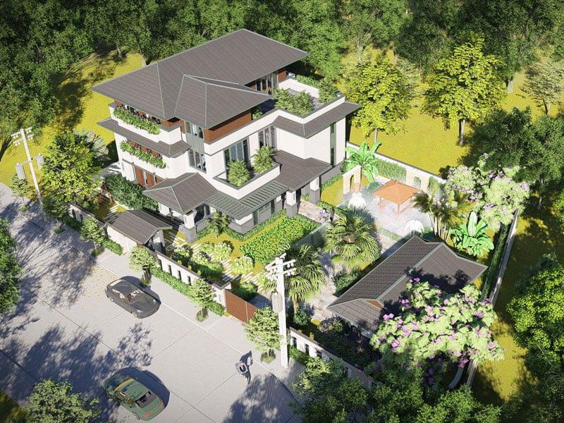 thiết kế biệt thự vườn 3 tầng mái thái 180m2 1
