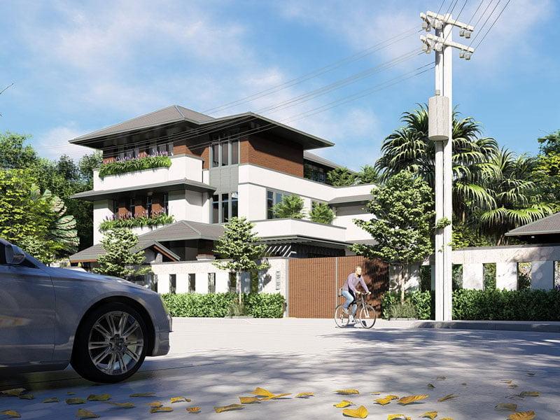thiết kế biệt thự vườn 3 tầng mái thái 180m2 2