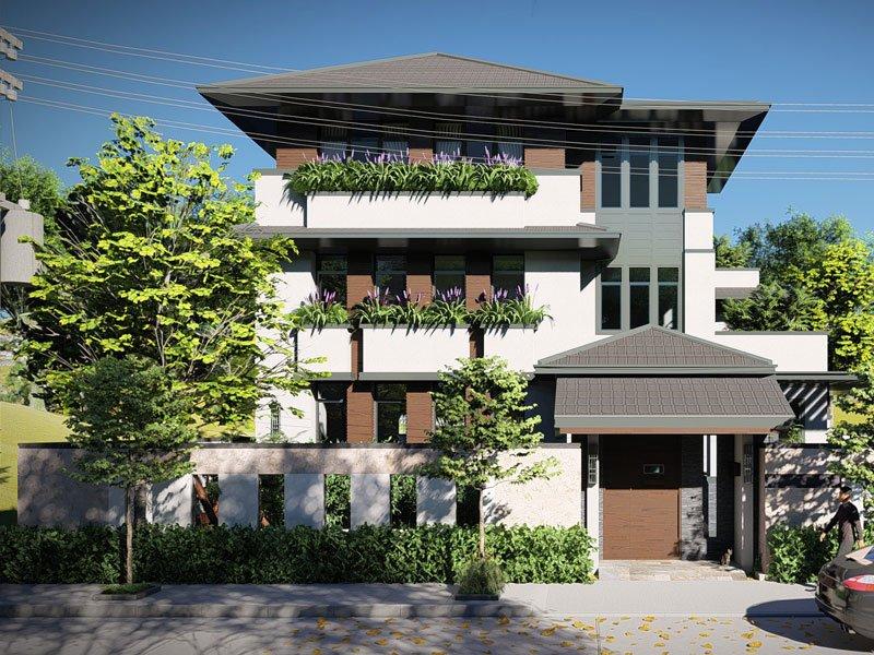 thiết kế biệt thự vườn 3 tầng mái thái 180m2 3