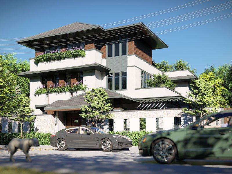 thiết kế biệt thự vườn 3 tầng mái thái 180m2 4