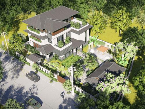 biệt thự vườn 3 tầng mái thái đẹp