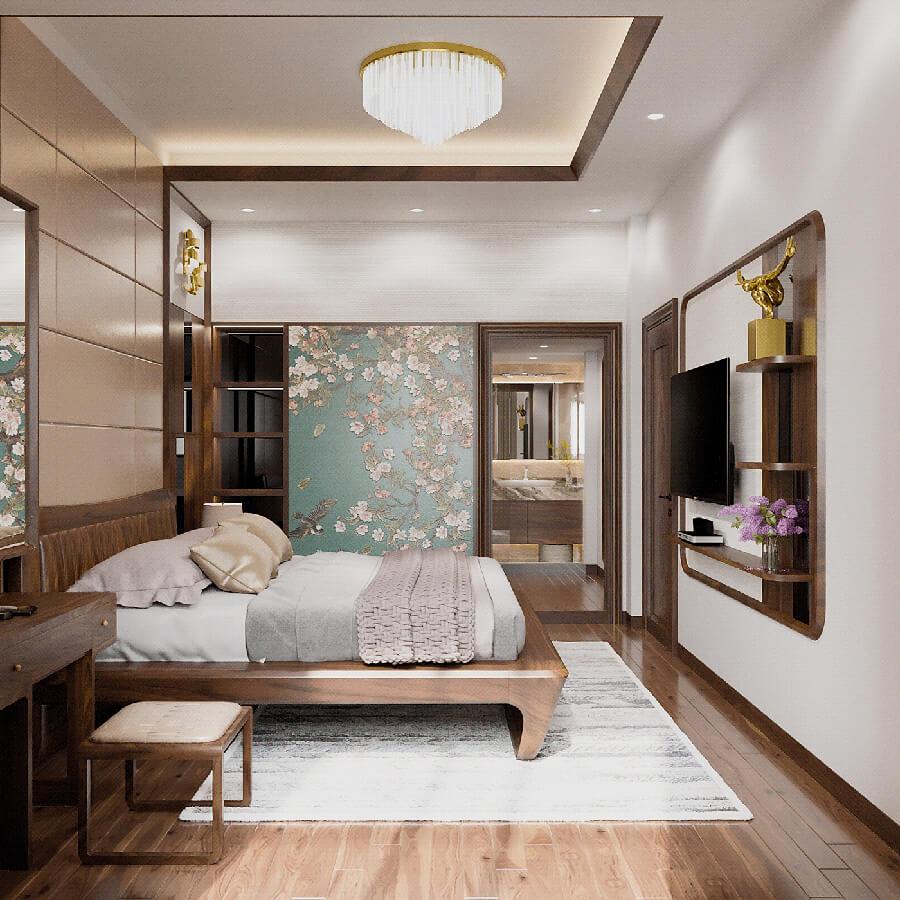 biệt thự vườn phong cách Châu Âu phòng ngủ master