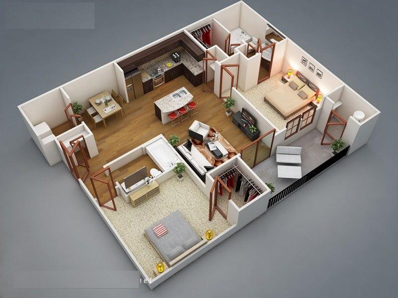 cách bố trí các phòng trong nhà cấp 4 12
