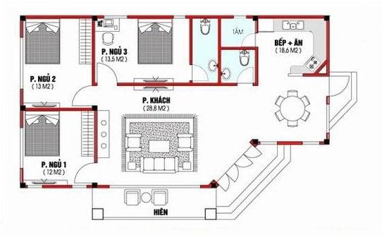 cách bố trí các phòng trong nhà cấp 4 7